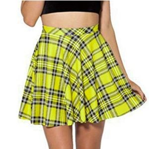 Dresses & Skirts - Women's yellow plaid print pleated mini skirt
